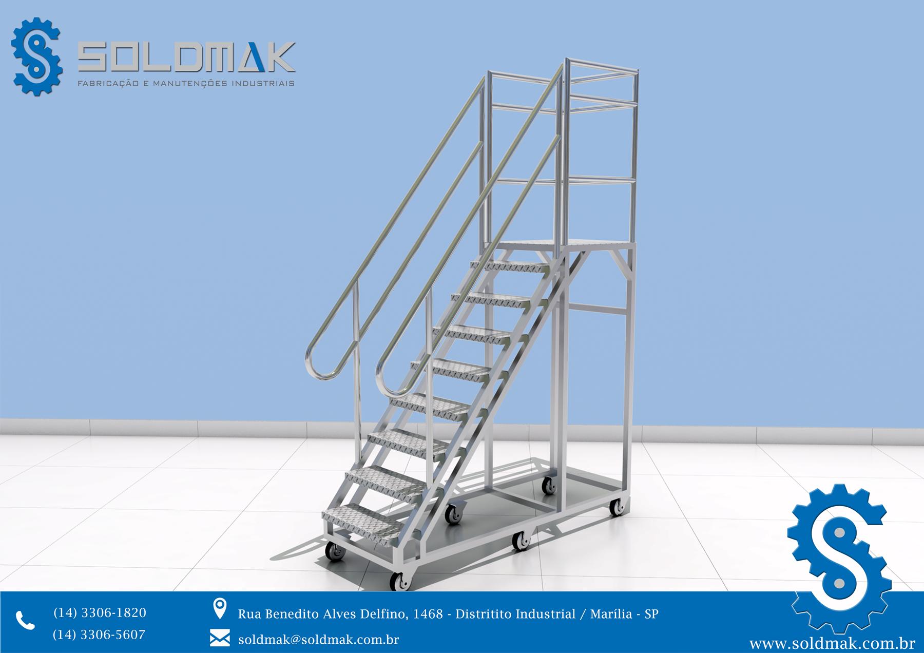 Escada em alumínio com Patamar