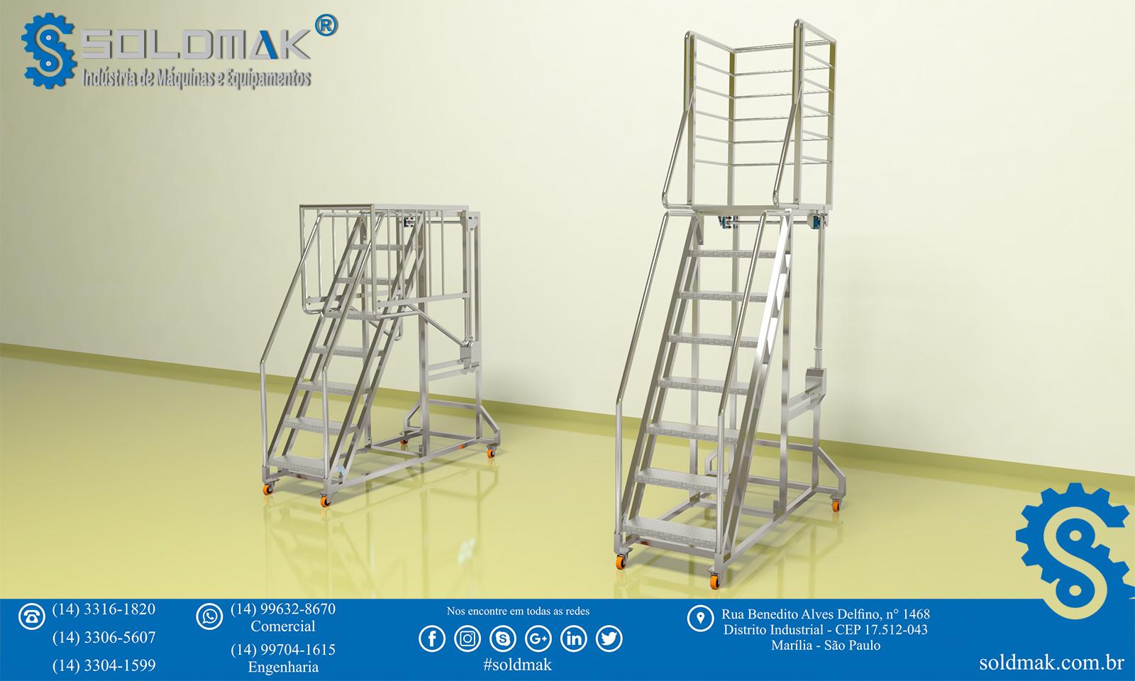 Escada Trepadeira com Guarda Corpo articulado